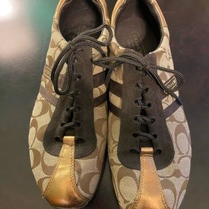 Brown and gold Coach sneakers Sz 10